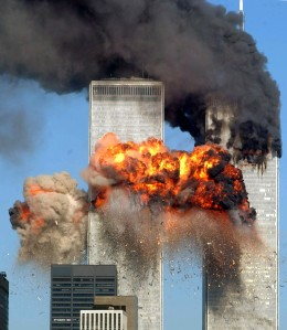NEW YORK - SEPTEMBER 11: Hijacked United Airlines Flight 175 from Boston crashes into the south tower of the World Trade Center and explodes at 9:03 a.m. on September 11, 2001 in New York City. The crash of two airliners hijacked by terrorists loyal to al Qaeda leader Osama bin Laden and subsequent collapse of the twin towers killed some 2,800 people. (Photo by Spencer Platt/Getty Images)